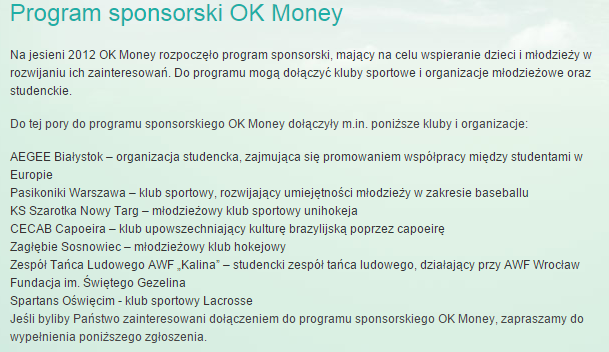 OK Money - program sponsorski