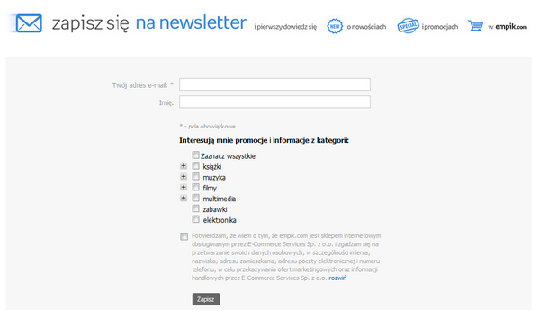 Empik - zapis na newsletter
